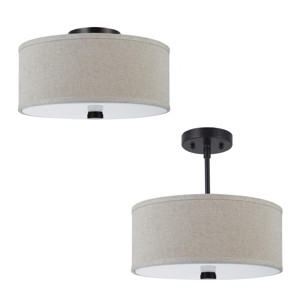 Two light flush semi flush convertible